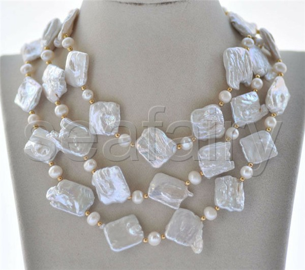 """P6799 2Row 21/"""" 20mm White Square Coin Baroque Keshi Round Pearl Necklace"""