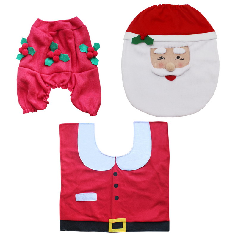 4Pcs Soft Christmas Decoration Santa Xmas Toilet Seat Cover Rug Bathroom Mat Set