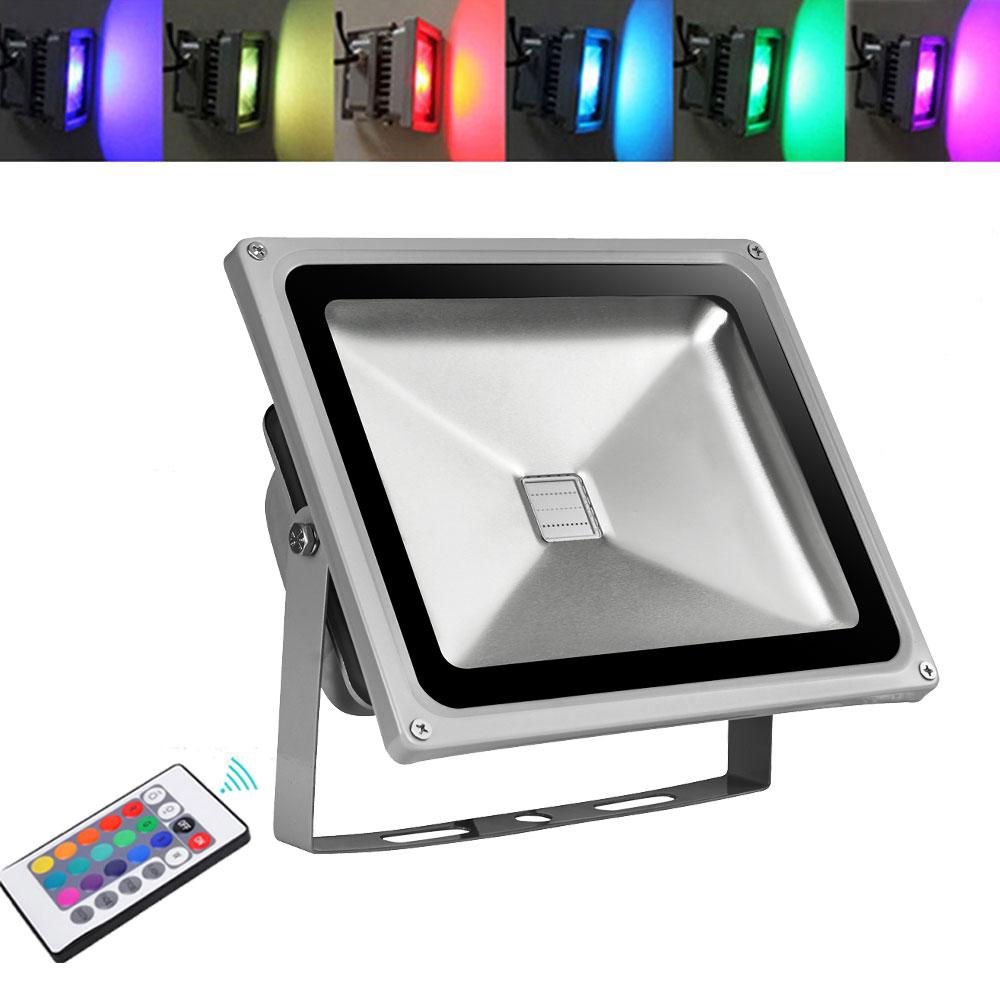 2x dimmbar 30w rgb farbig led fluter au en strahler flutlicht mit fernbedienung ebay. Black Bedroom Furniture Sets. Home Design Ideas