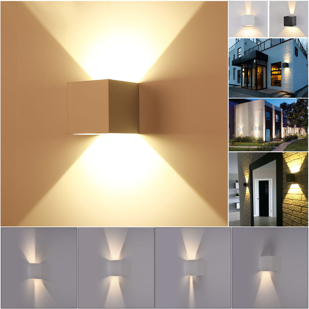 7w modern square led wall light up down cube indoor outdoor sconce 7w modern square led wall light up down cube indoor outdoor sconce lighting lamp aloadofball Gallery