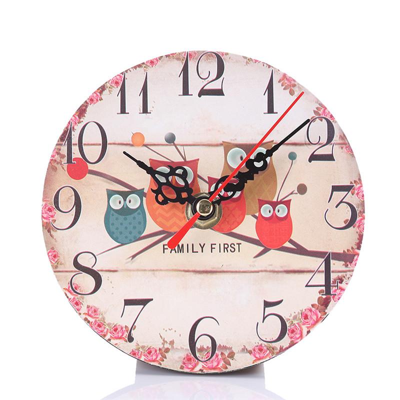 Cute Cartoon Owl Wood Wall Clock Kids Boys Girls Bedroom Home Decor