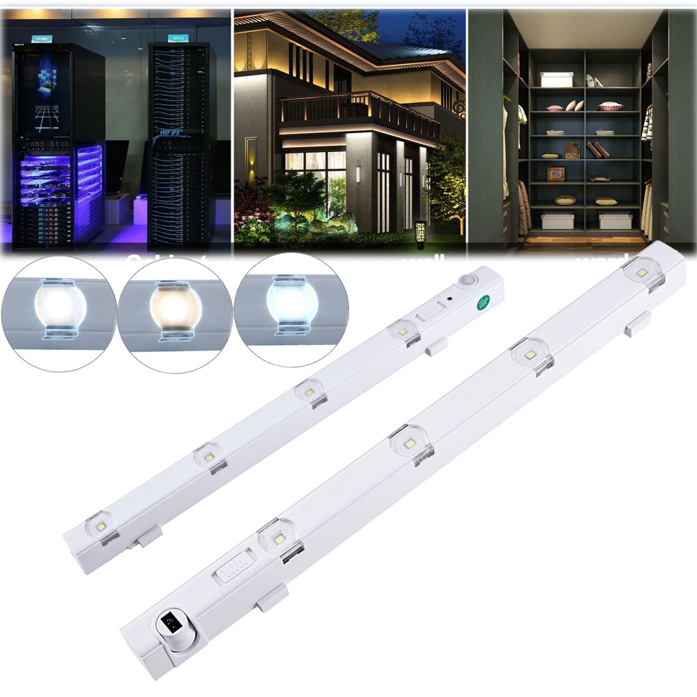 4 led unterbauleuchte mit bewegungsmelder k che schranklampe nachtlicht battery ebay. Black Bedroom Furniture Sets. Home Design Ideas