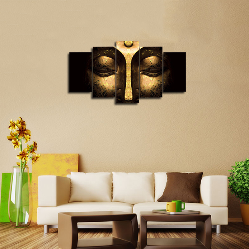 5Pcs Wall Abstract Art Print Canvas Painting Buddha Picture Unframed ...