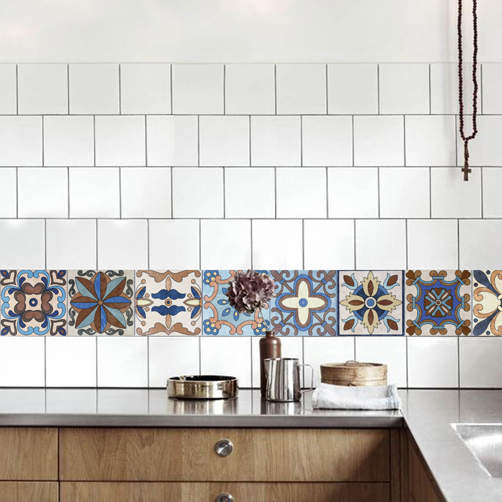 Self-adhesive Tile Stickers Wall Kitchen Bathroom Floor Art Decor ...