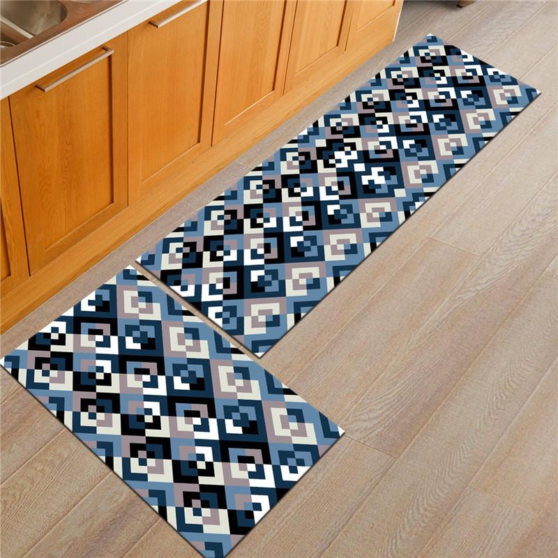 2Pcs Kitchen Floor Carpet Non-Slip Area Rug Bathroom Door Mat Set 17 ...