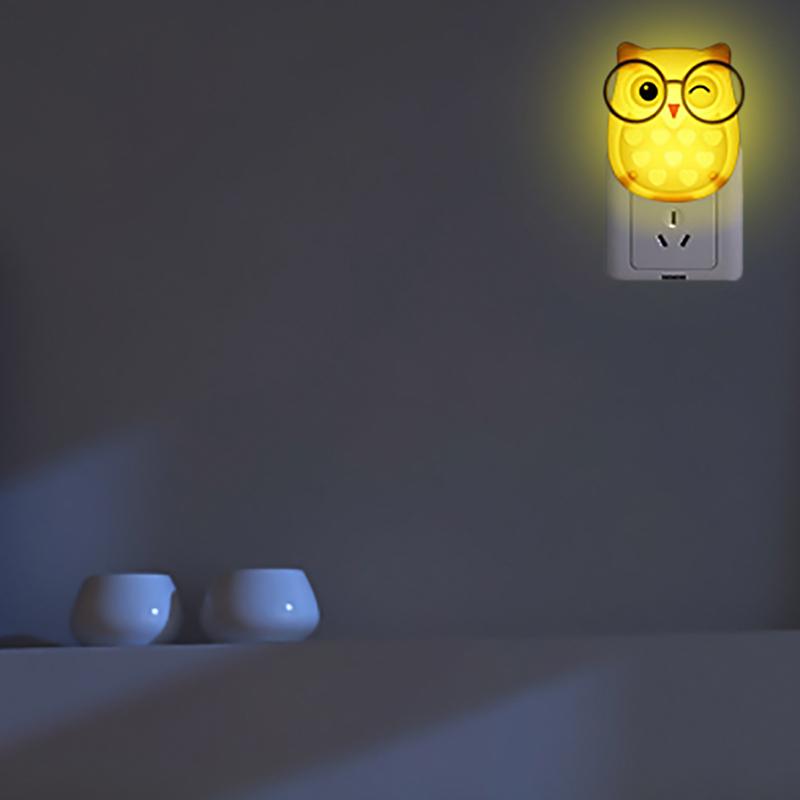 Cute Cartoon Owl LED Auto Inductive Baby Kids Bedroom Night Light Wall Lamp Gift