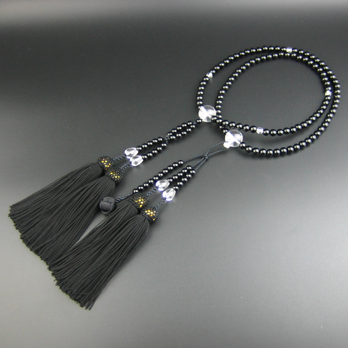 Mala 108 Bead Necklace with Agate Silver Beads Jade Buddha Head and Tassel Glass