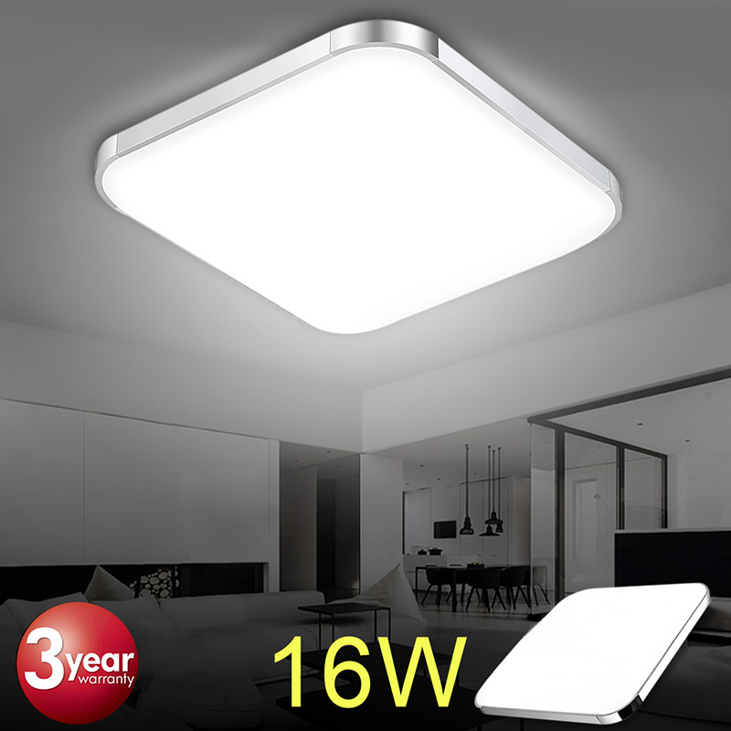 Details About Modern Square Led Ceiling Light Wall Lamp Panel Kitchen Room Office Lighting 16w