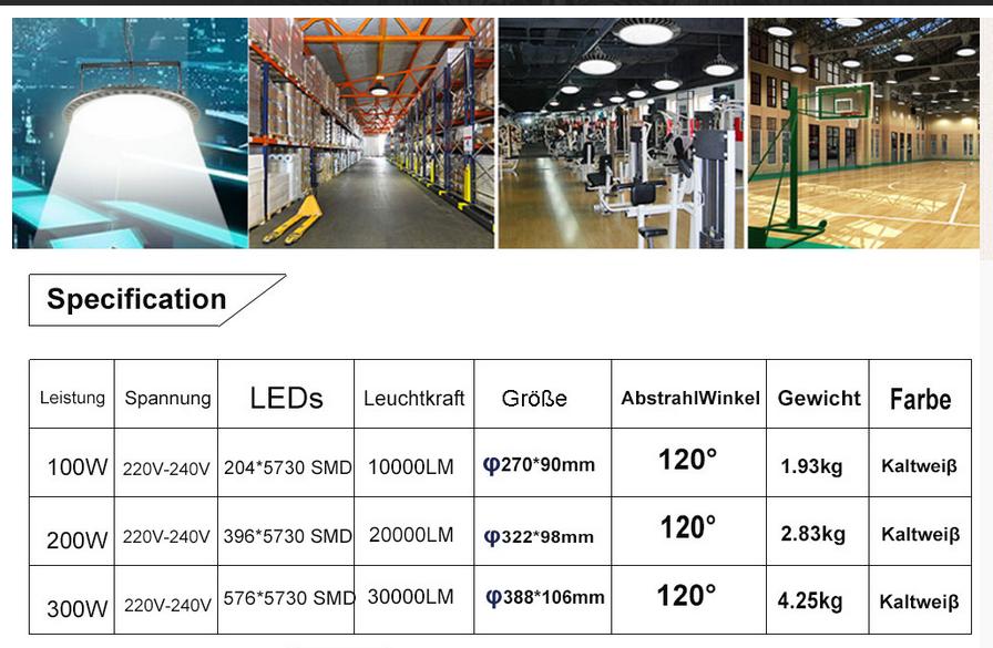 100W-300W UFO LED Hallenleuchte Industrie Hallenfluter Werkstattbeleuchtung DE