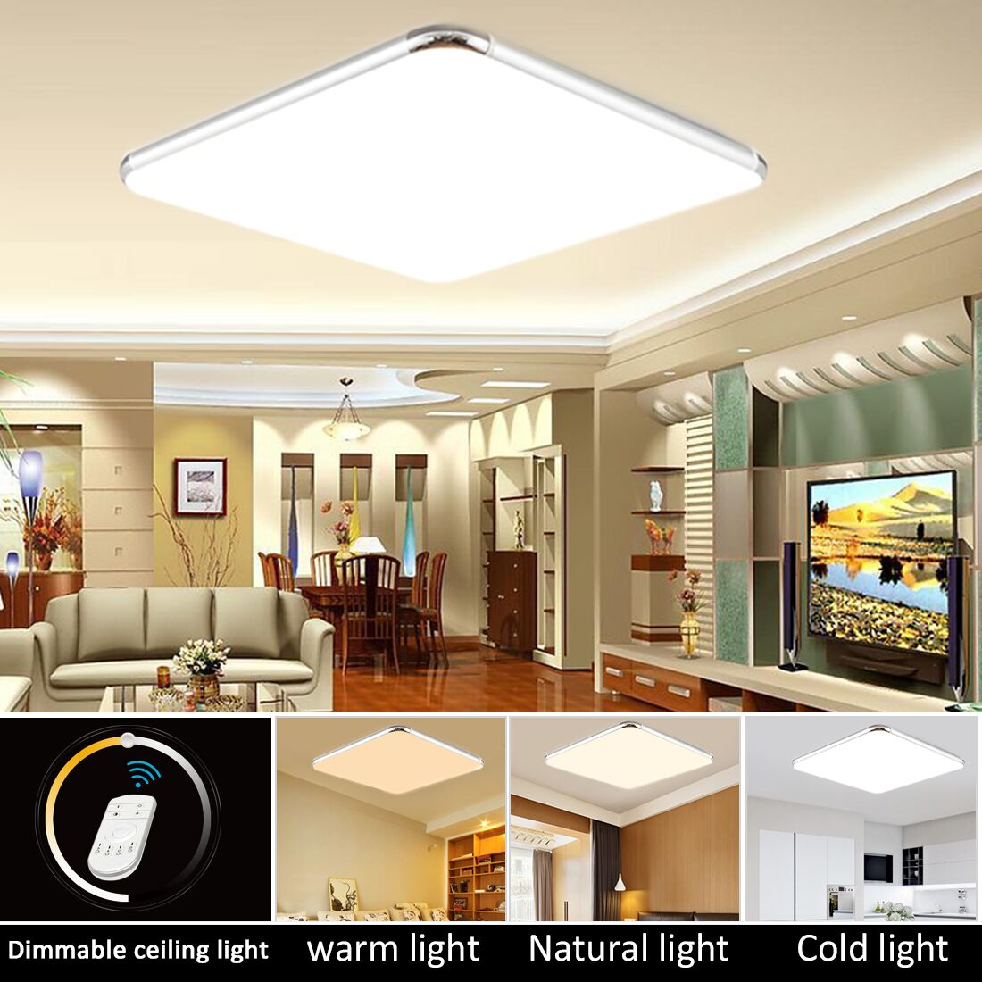 Details about dimmable led ceiling light ultra thin flush mount kitchen lamp fixture w remote