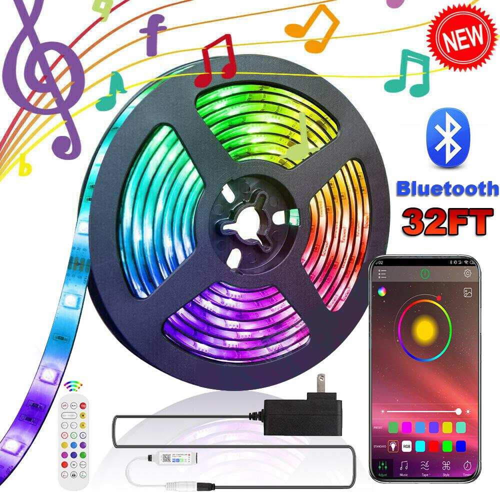 32ft 5050 RGB LED Strip Lights Bluetooth Music Backlight APP+Remote+Power W//Box
