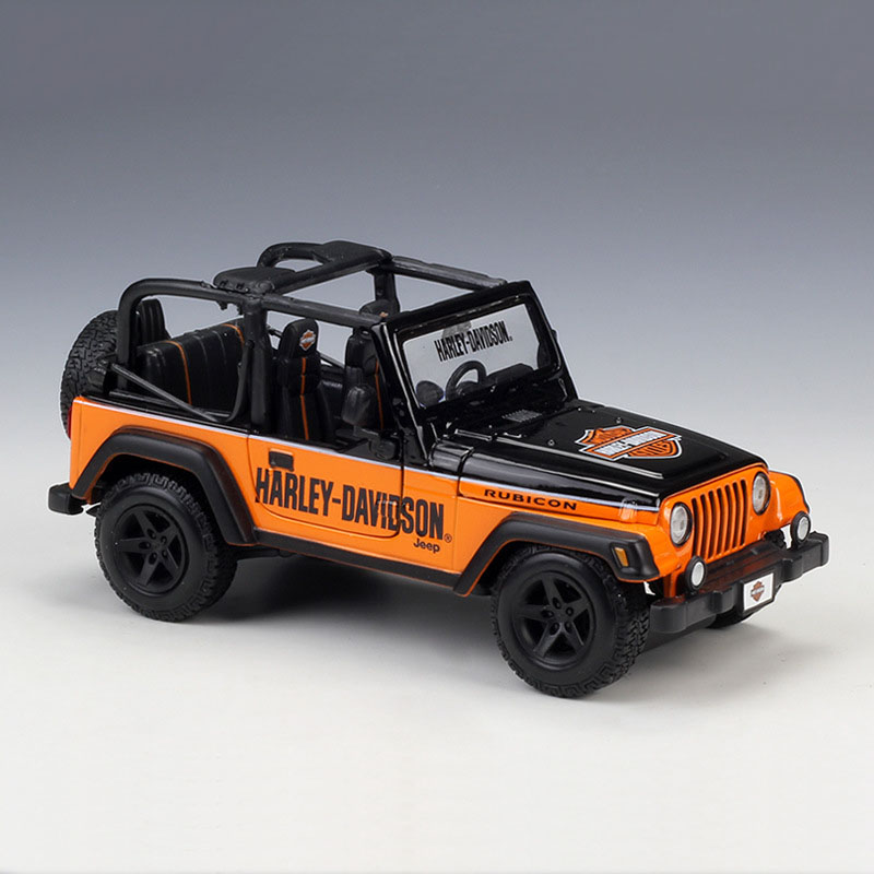 Jeep New Model >> Details About New 1 24 Car Model Jeep Wrangler Rubicon Orange Vehicle Harley Davidson Version