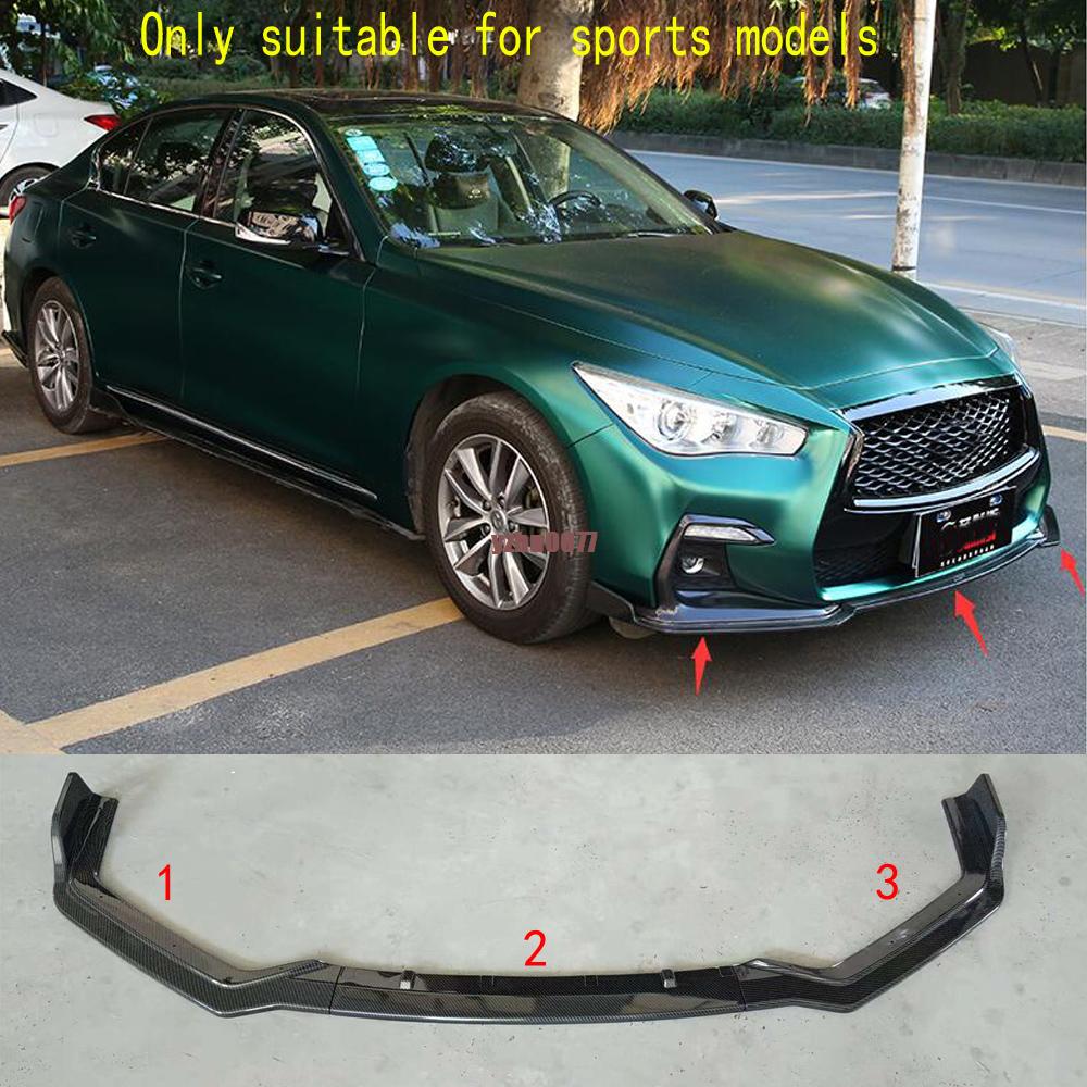 2018 For Infiniti Q50 sport Mode Carbon fiber Front Bumper Chin Lip Spoiler 3Pcs