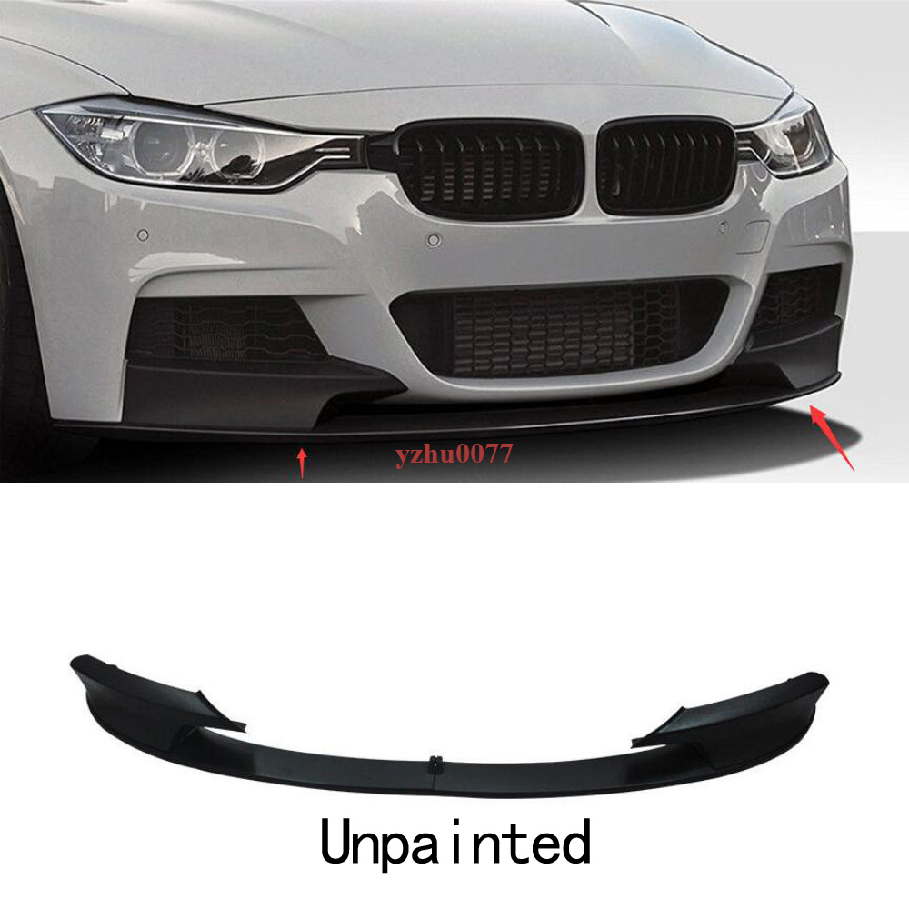 Glossy Black Front Bumper Lip For BMW F30 3 Series M Style 2012-2018