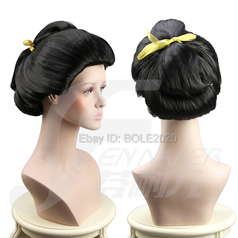 Beautiful Woman Bun Black Updo Cosplay Wig Ancient Beauty Geisha Full Hair  Wigs cc748e2d1b8f