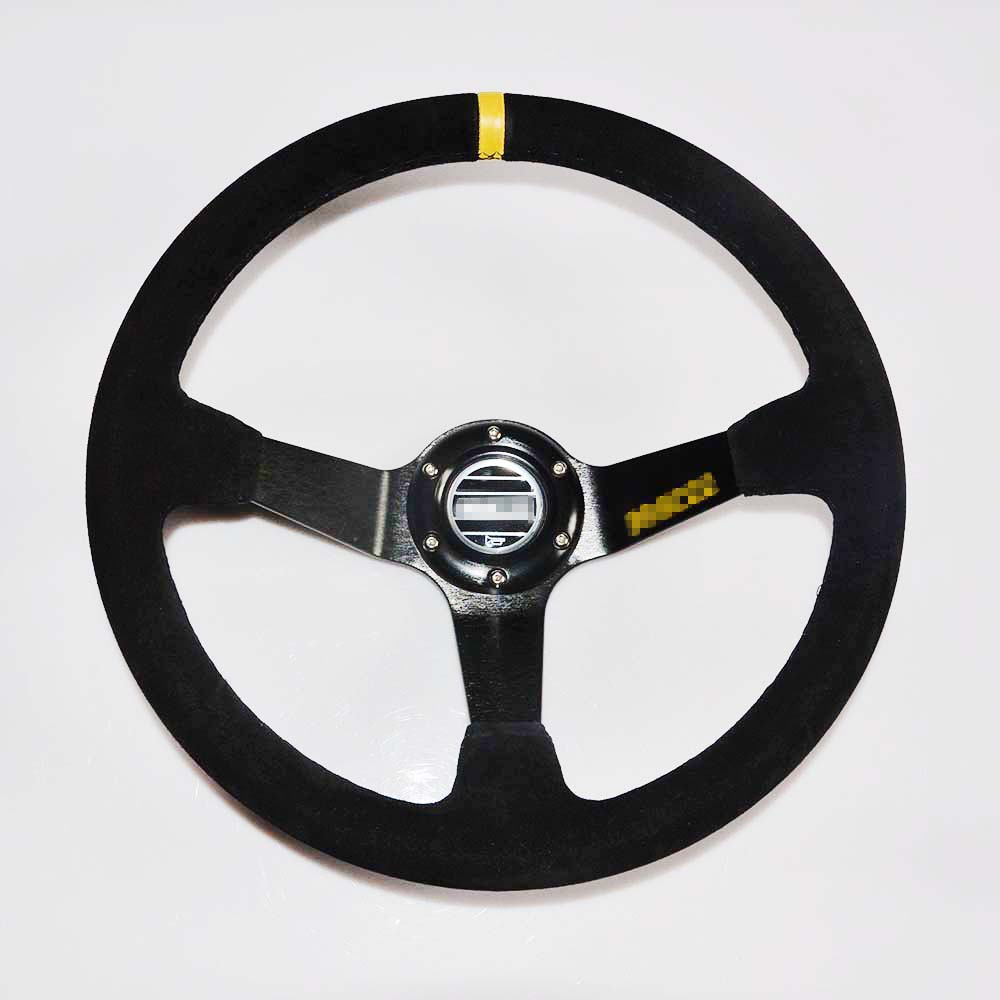 350mm//13.8inch Deep Dished Sport Racing Suede Leather Alloy Car Steering Wheel