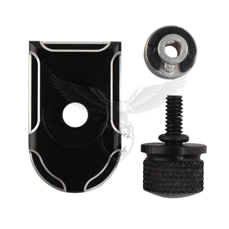 Black Edge Cut Seat Bolt Tab Screw Mount Cover Set For Harley Touring FLHT FLHR