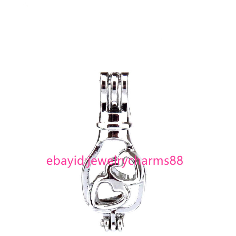 Silver Beads Pearl Cage 5-8mm - 30mm Alloy Drifting Bottle Cage K539-5pcs