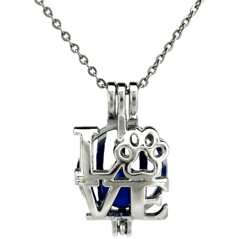 K772 I Love You Cat Paw Beads Pearl Cage Locket Pendant ...