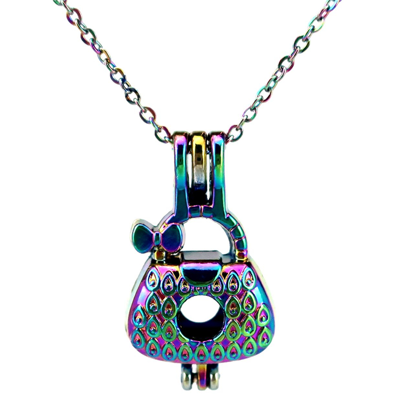 5pcs//lot Rainbow Color Big Star Locket Pendant Pearl Cage Charms C610