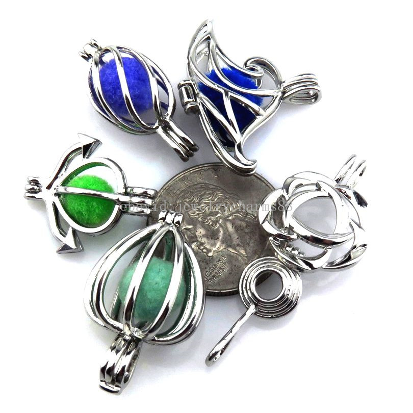21622 5X//lot Wholesale Silver Locket Flower Anchor Cloud Pearl Cage Pendant Girl