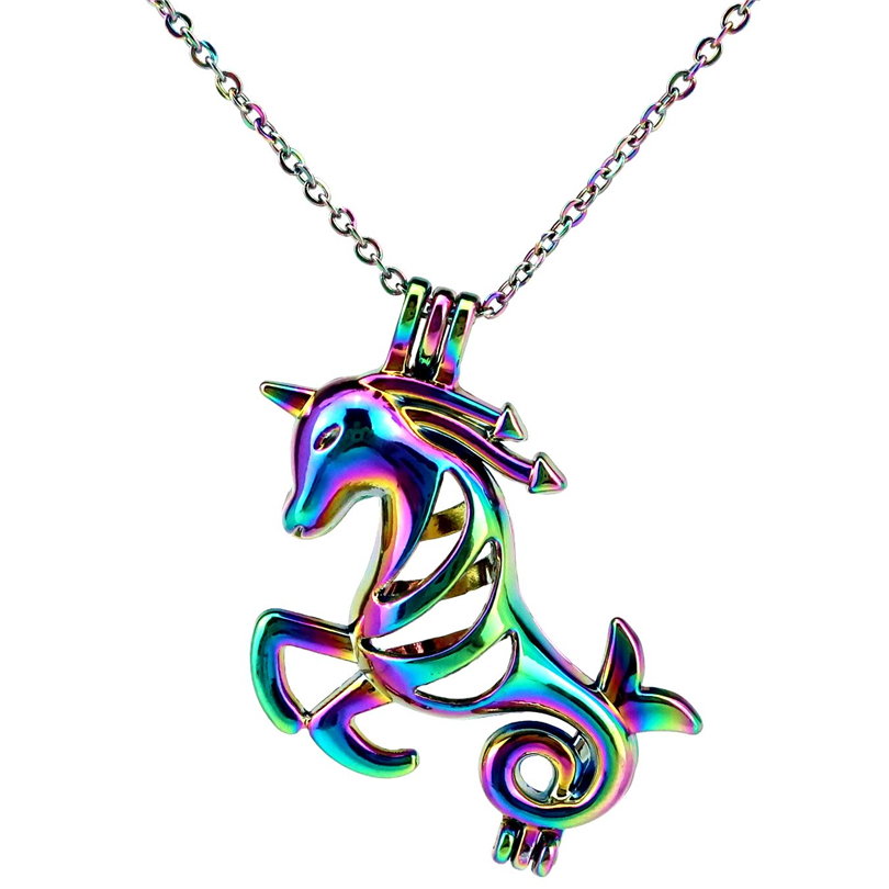 """C909 Rainbow Color Pearl Cage Locket Cartoon Cat Necklace Charm 18/"""" Chain"""