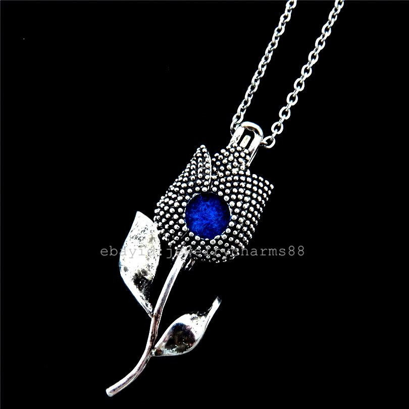 K253 Silver Lovers/' Tulip Flower Rose Bead Cage Necklace Locket Stainless Chain