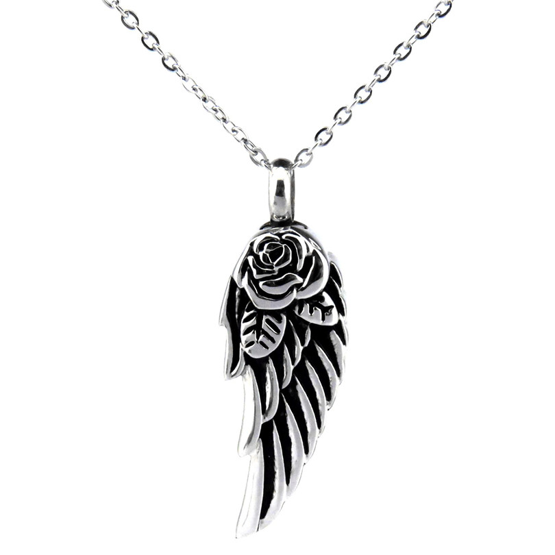 K518 Feather Cremation Urn Ashes Holder Stainless Memorial Enamel Necklace