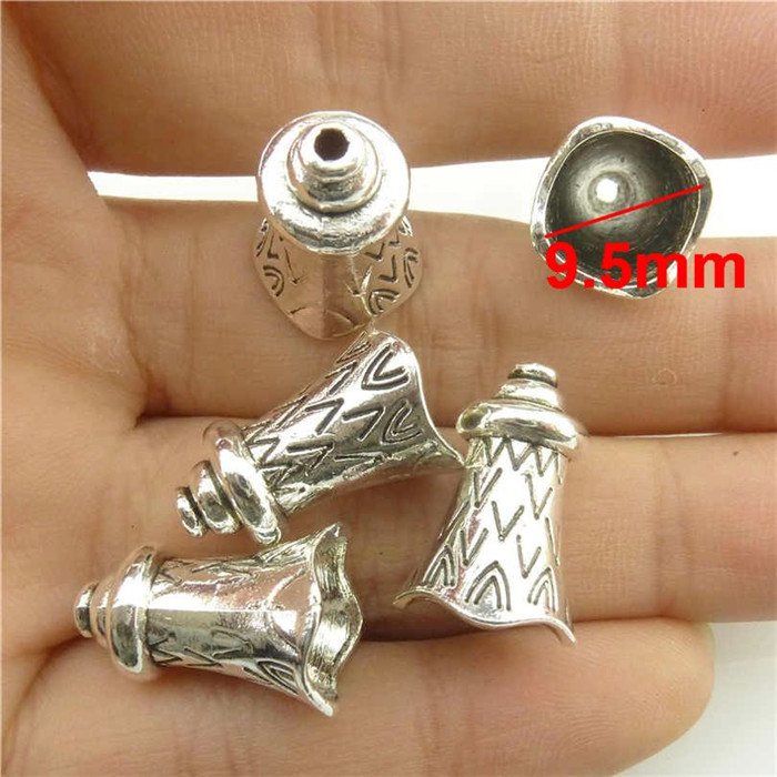 2pcs //set   Vintage Silver Alloy Jewelry Shell Leaf Flower Beads Tassel Ends Cap