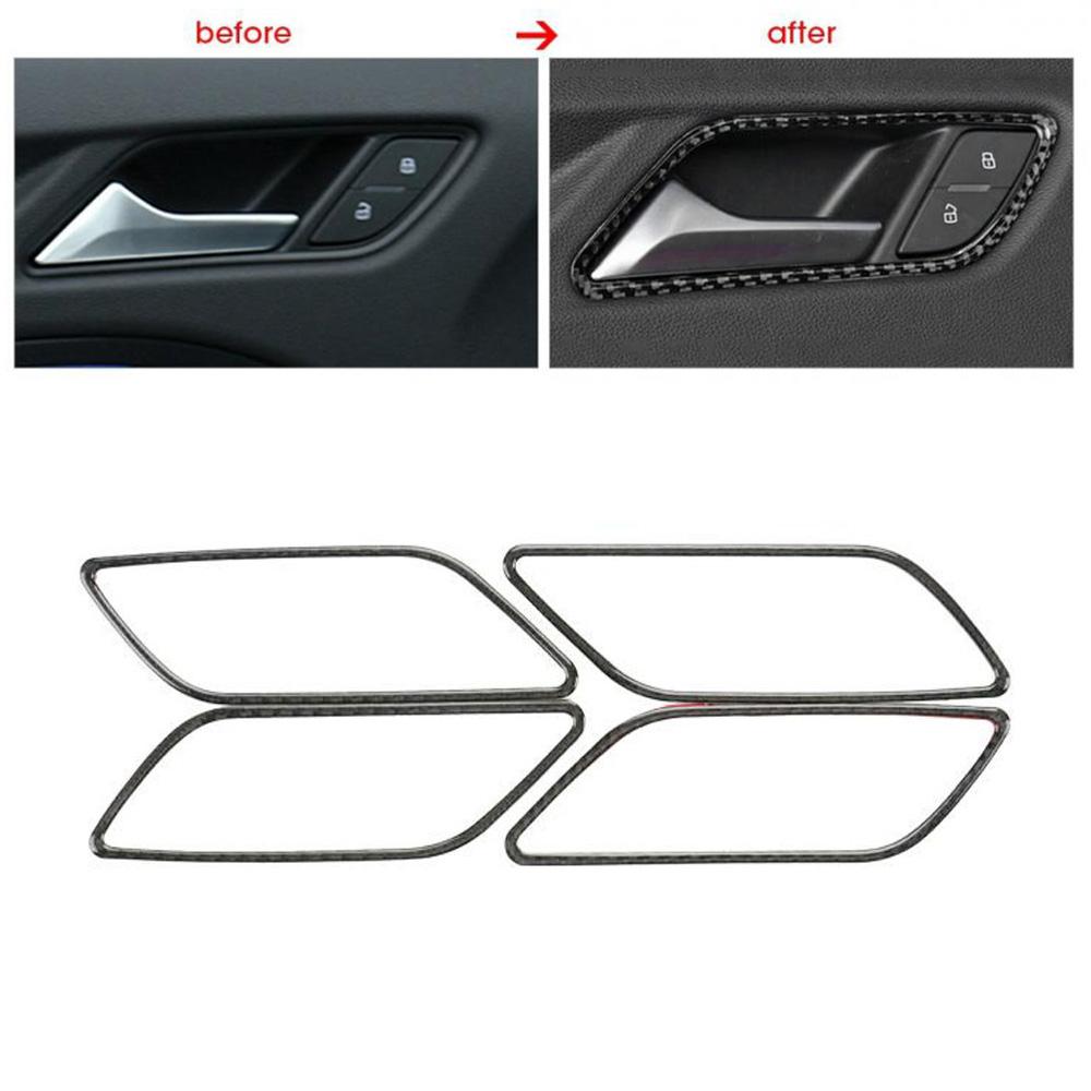 Real Carbon Fiber Inner Door Handle Bowl Cover Trim For Audi A3 8V 2014-2018