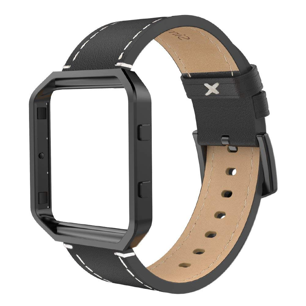 For Fitbit Blaze Band With Frame,Genuine Leather Wristband Straps