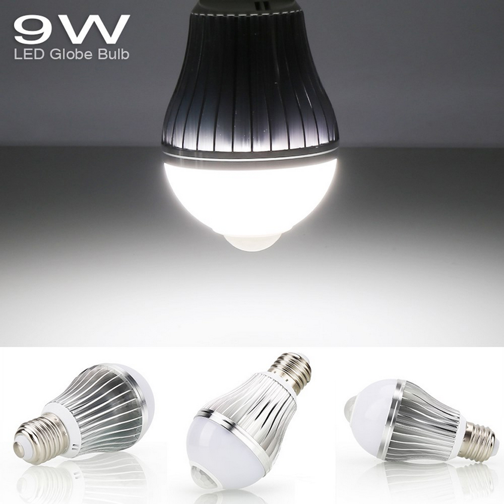 9w e27 led gl hbirne birne mit bewegungssensor bewegungsmelder pir sensor licht ebay. Black Bedroom Furniture Sets. Home Design Ideas