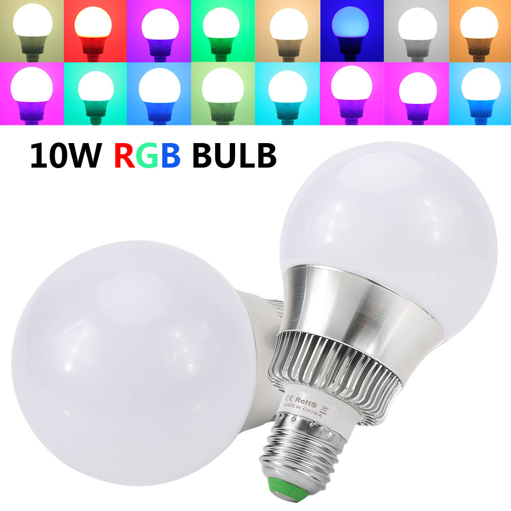 2×E27 Dimmable RGB LED Light Bulb 10W Color Changing Light