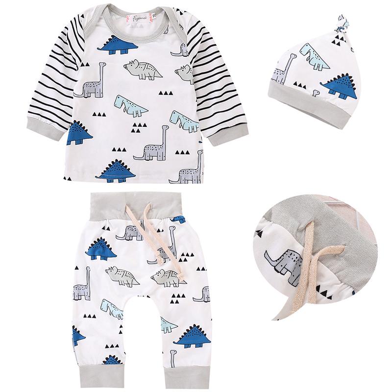 23fdbeff0 Newborn Baby Boy Dinosaur Clothes Tops T-shirt+Long Pants+Hat Outfit 3pcs  Set TP