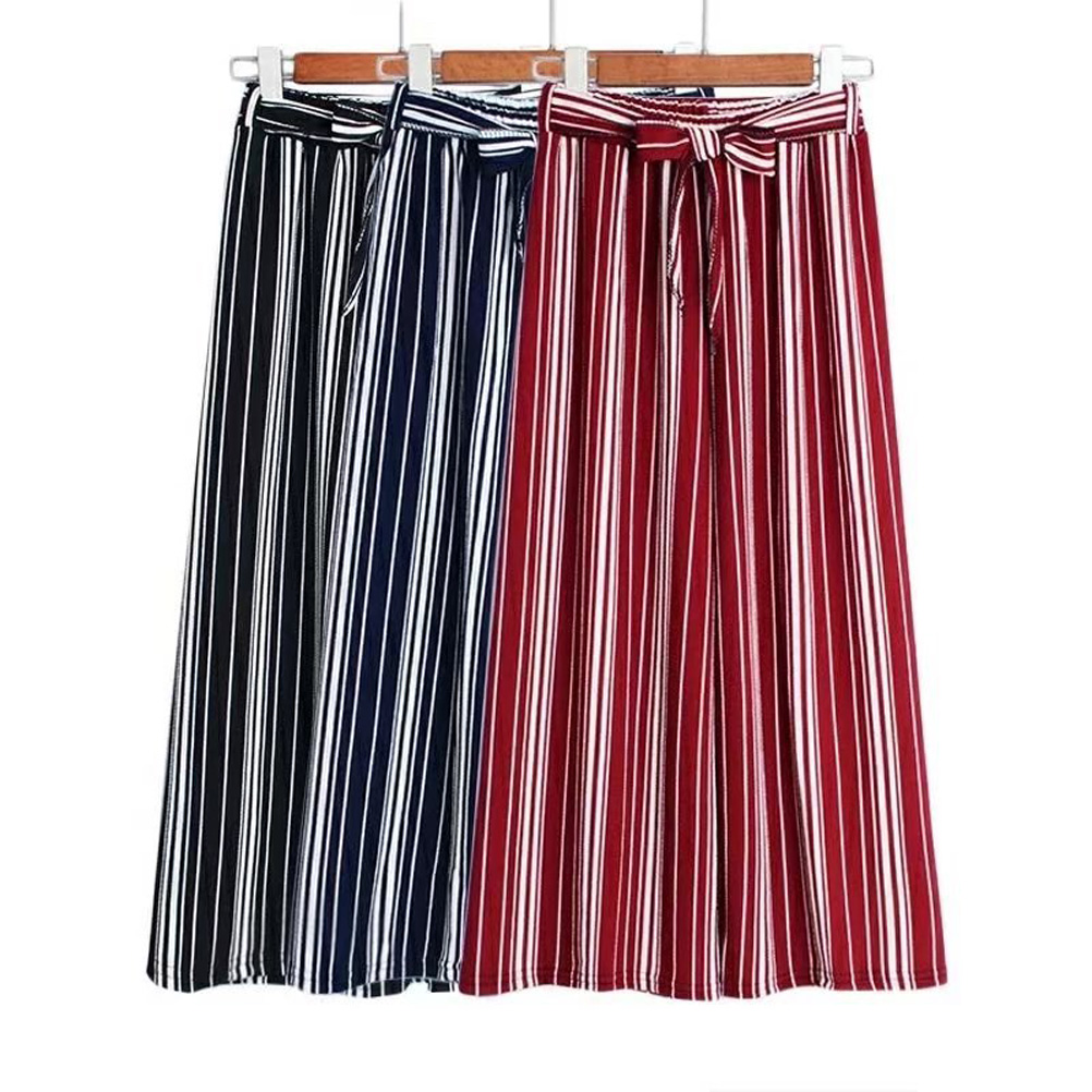 Summer Striped Bohemian Style Wide Leg Pants Bow Tie Decorated Ankle Length TP