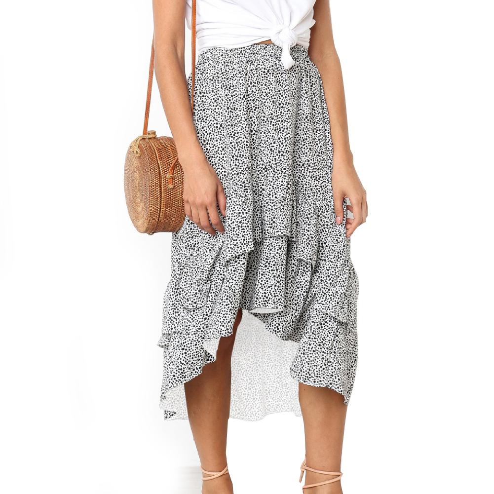 329480af8 Women Ruffles Skirts Polka Dot Summer Skirts Asymmetrical Elegant Midi Skirt  T