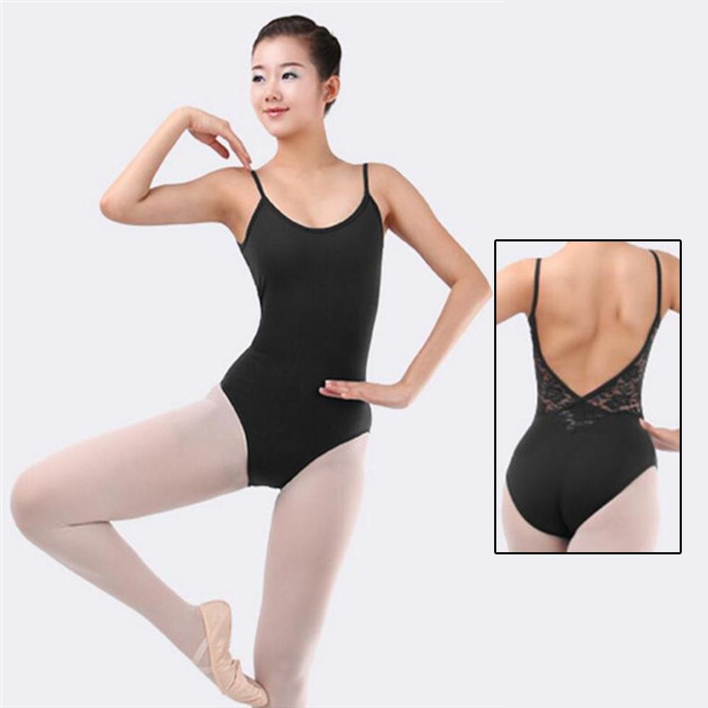 4ecc2e67b506 Details about Girl Women Lace Deep V Back Ballet Gymnastics Dance  Sleeveless Leotard Black