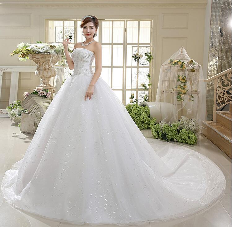 Woman Bride Wedding Dress Tail net yarn straps Princess Bridal Gown ...