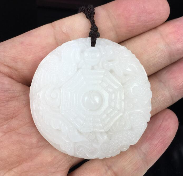 China natural hand engraving Afghanistan white jade buddha pendant necklace