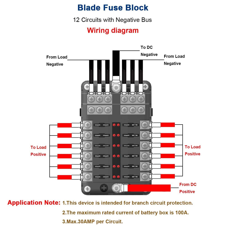 12 Circuit Automotive Blade Fuse Block Holder Led Indicator W Neg Vehicle Wiring Schematic Dc Max 32v Box