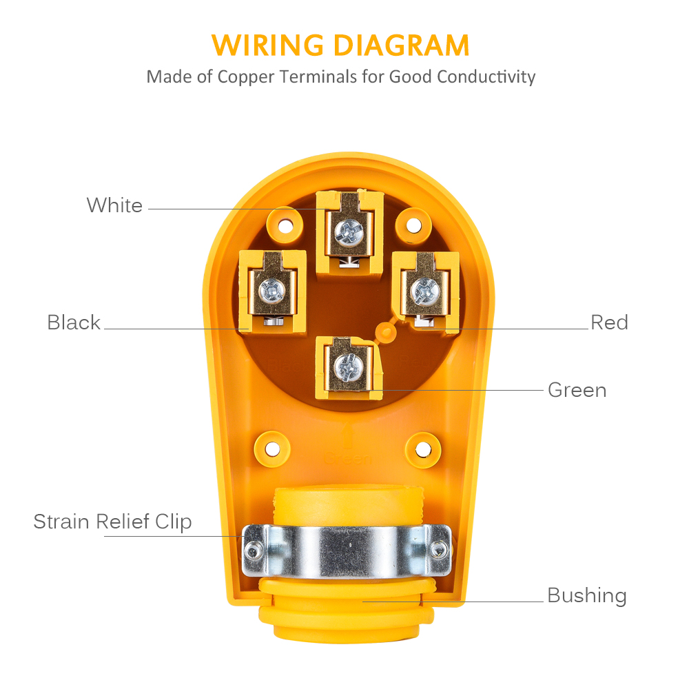 Rv Camper 50 Amp Electrical Cord Female Receptacle Replacement Plug Cable Wiring Diagram Power Grip