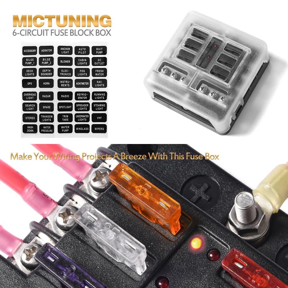 6 Circuit Led Illuminated Automotive Blade Fuse Holder Box Block W Negative