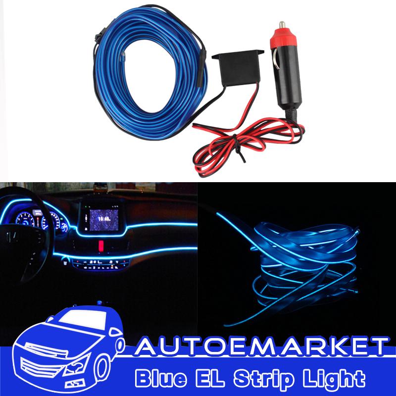 Blue 1M 12V EL Wire Car Ambient Light Inside Vehicle Cold Light Car ...