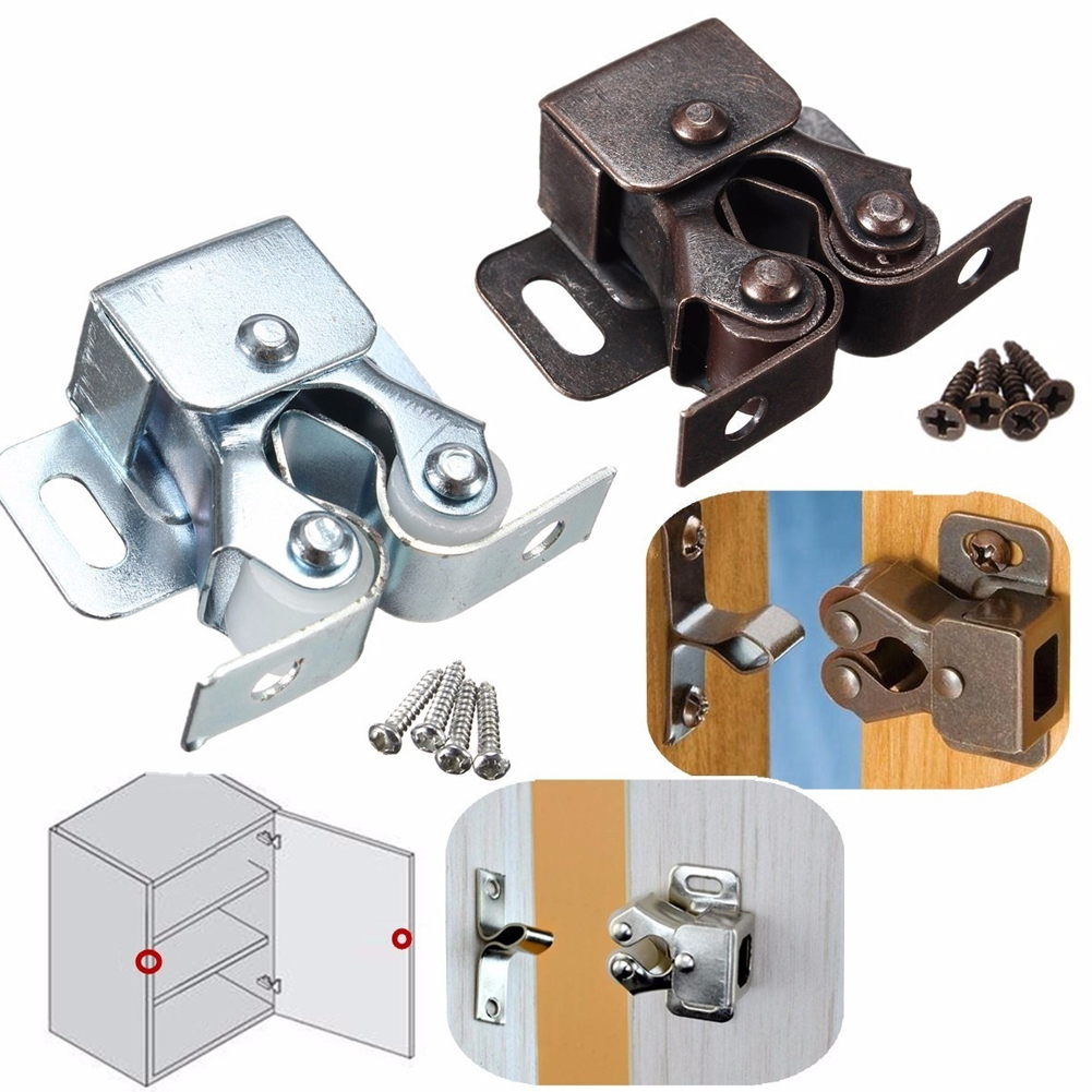 Attirant Details About Double Roller Catch Cupboard Cabinet Door Caravan Latch  Hardware Silver/Copper