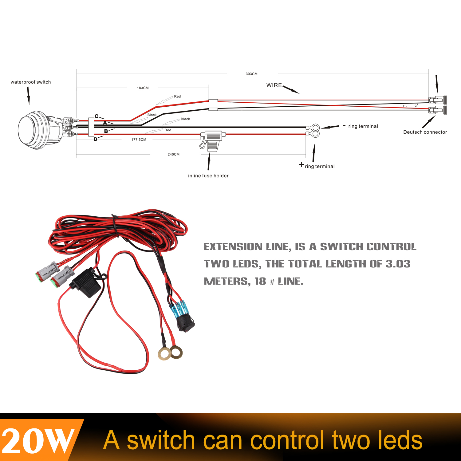 2pcs 40w Uno Ece Sae High Beam Patten Cree Led Light Wiring Kit Lighting Diagram Control Two Bar