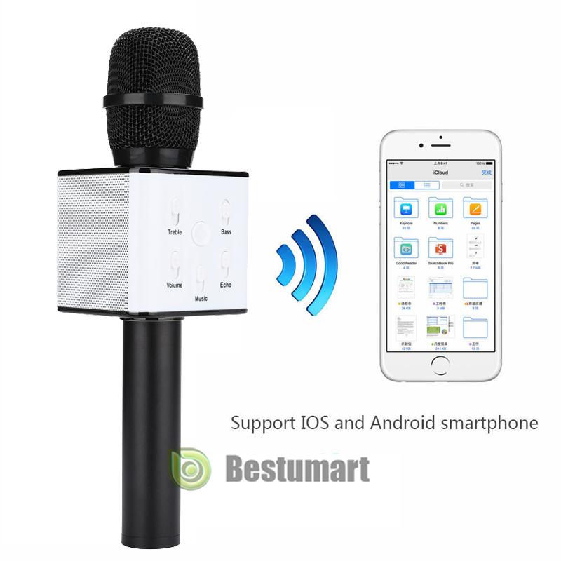 2e197bb57f1 Q7 Wireless Bluetooth Karaoke Microphone USB Player Speaker Mini Home KTV  Black