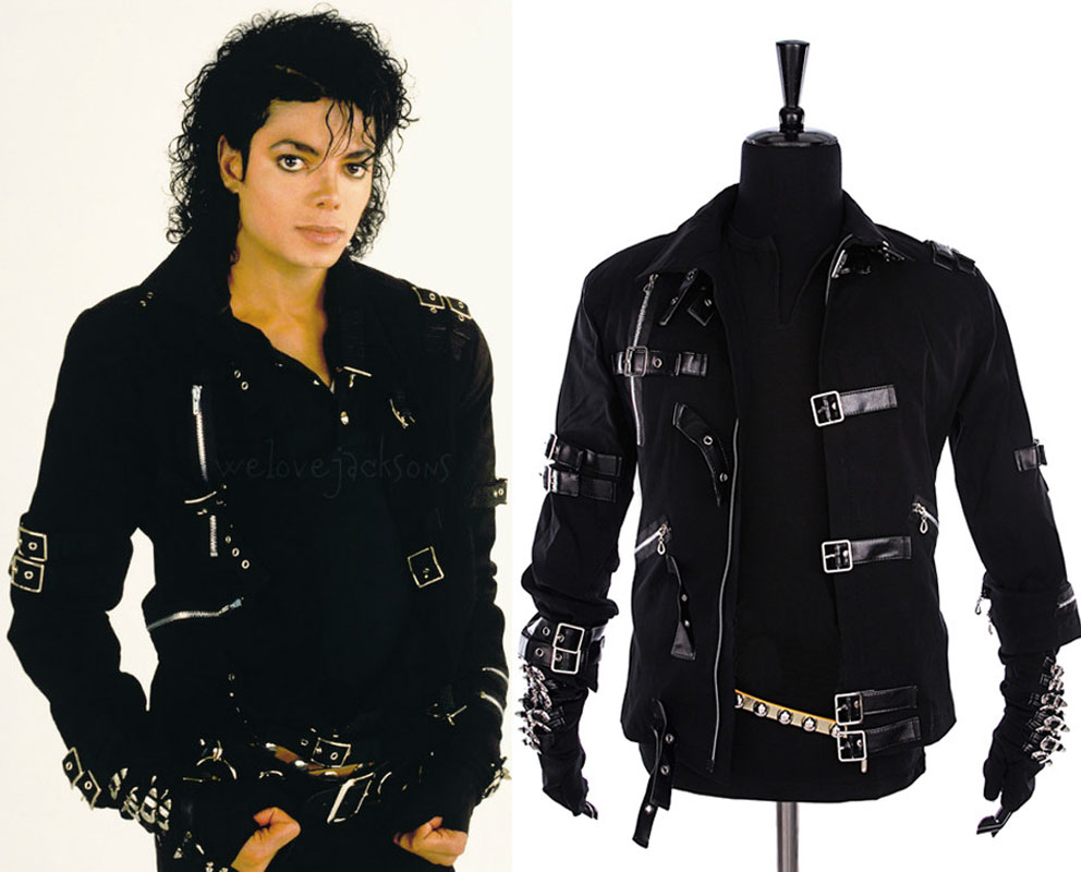 Michael Jackson MJ BAD Black Jacket glove Outerwear Skinny Punk ...