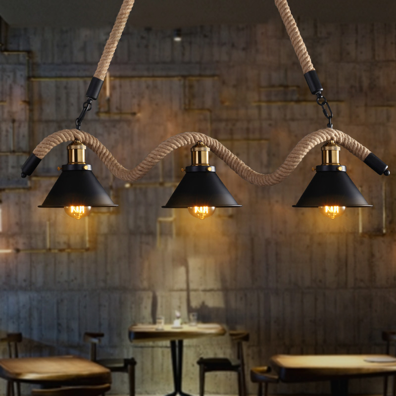Industrial Black Metal Cone Shade Hemp Rope Island Kitchen Ceiling Pendant Light Ebay