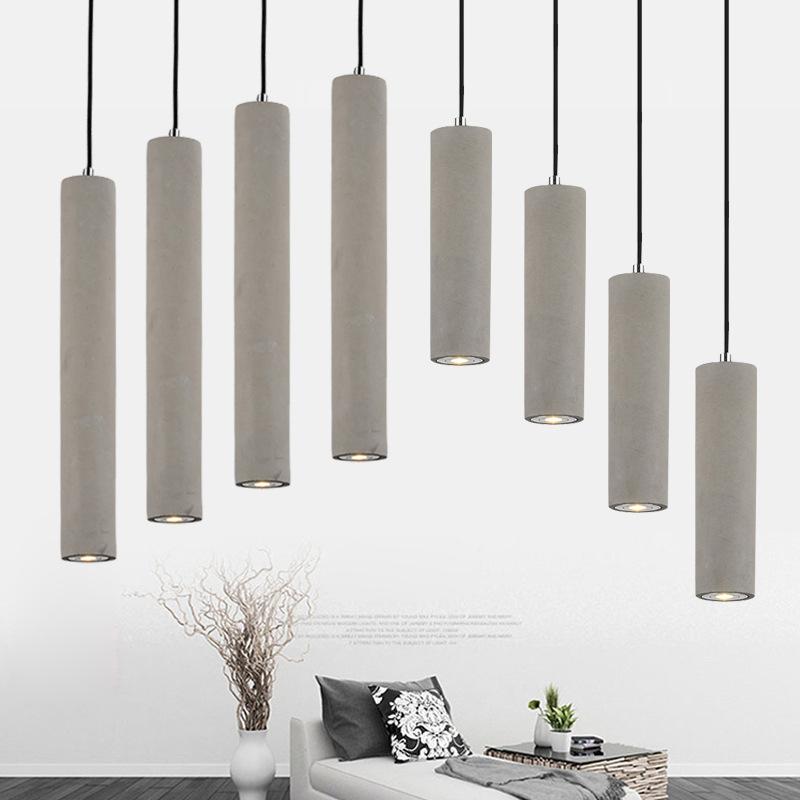 Details About Nordic Style Grey Concrete Cylinder Led Spotlight Ceiling Pendant Lights 25 50cm
