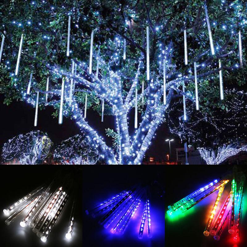 30/50cm 144/240 LED 8 Tubes Meteor Shower Rain Snowfall Tree Lights ...